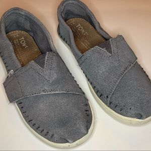 Toms girls size 1 gray suede slip ons